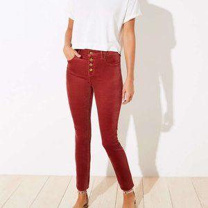 LOFT Velvet High Waist Button Fly Skinny Pants 14